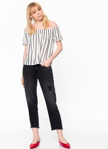 Kayık Yaka Çizgili Bluz-Vero Moda